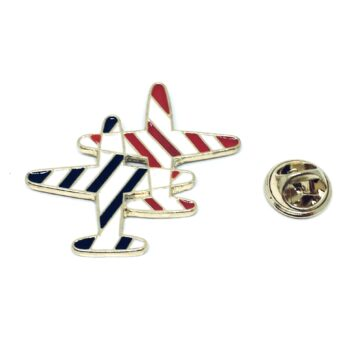 Gold plated Double Enamel Airplane Pin