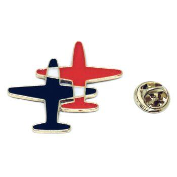 Enamel Double Airplane Pin