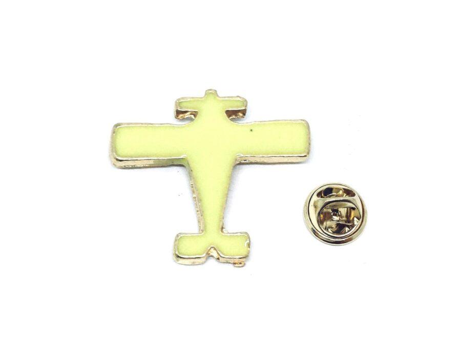 Yellow Enamel Airplane Pin