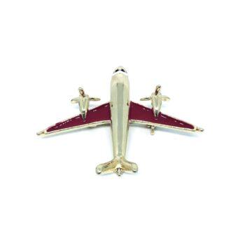Red Enamel Airplane Pin