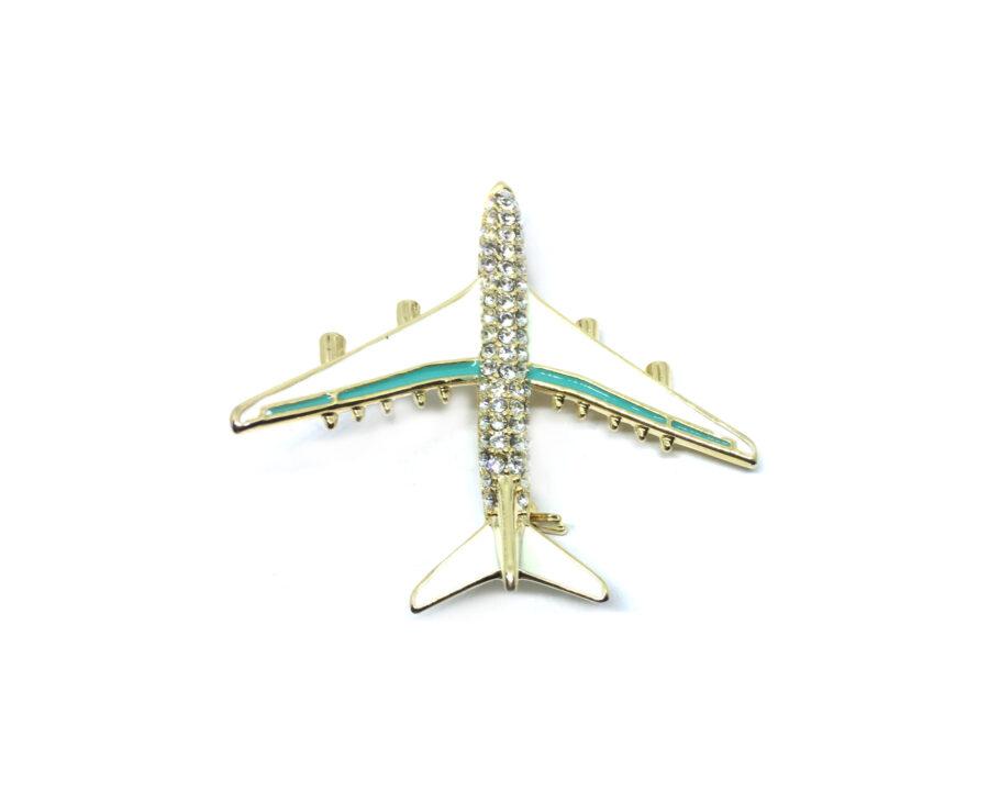 Crystal Enamel Airplane Brooch Pin