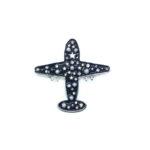 Black Enamel Airplane Brooch Pin