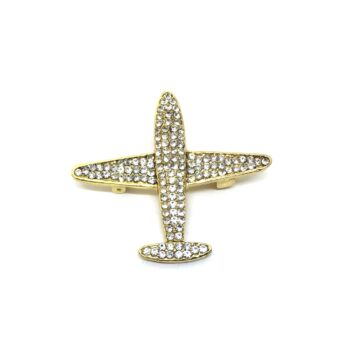Crystal Gold plated Airplane Brooch Pin