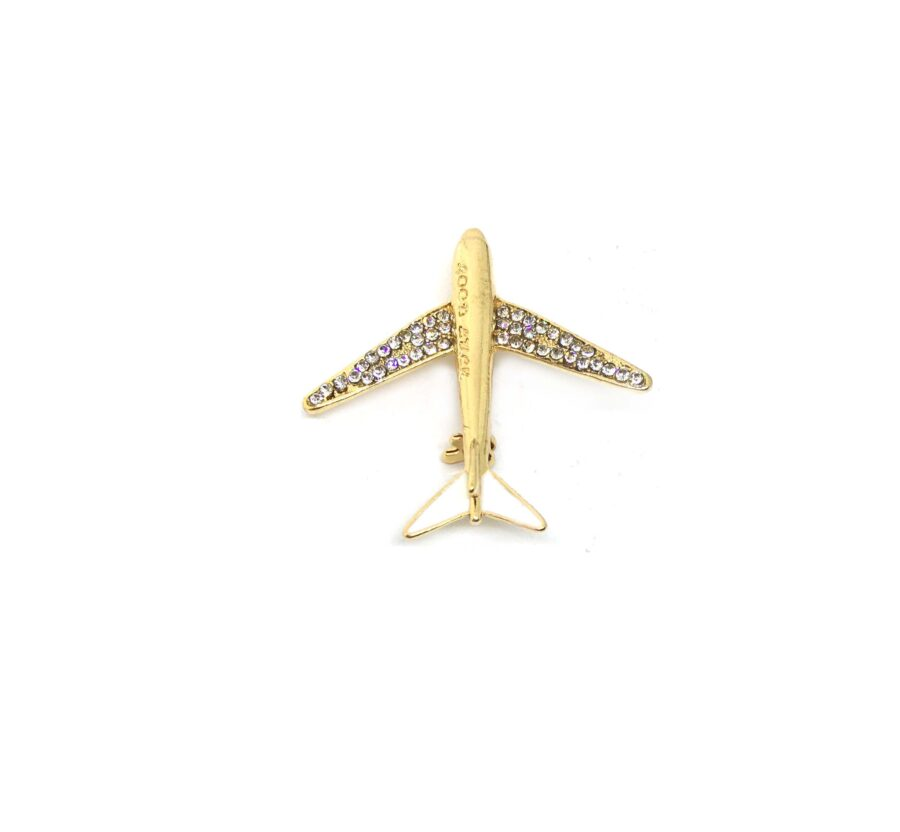 Crystal Gold tone Airplane Brooch Pin
