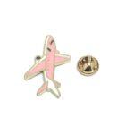 Pink Enamel Airplane Lapel Pin