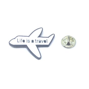 """Life is a travel"" Airplane Pin"