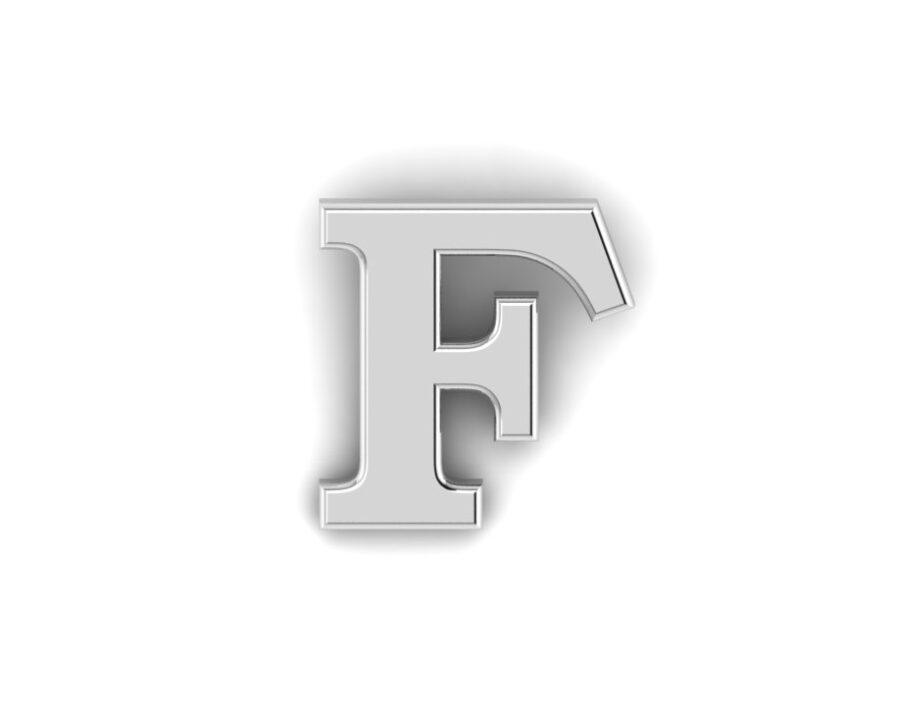 F Alphabet Lapel Pin