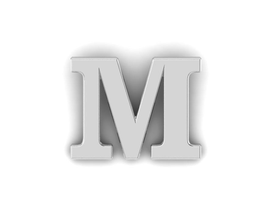M Alphabet Lapel Pin