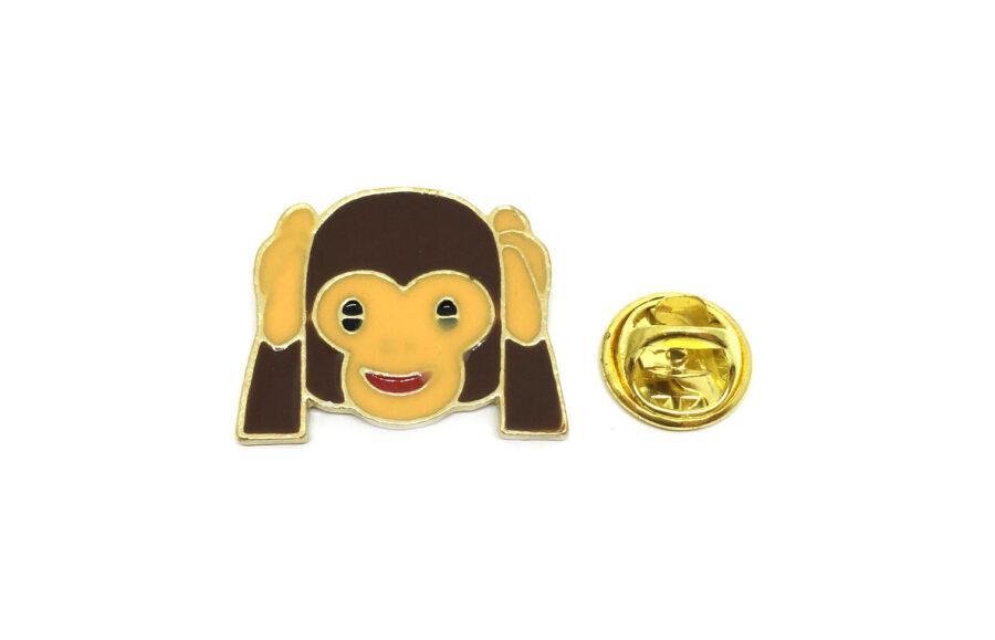 """Wise monkey """"Hear only good"""" Enamel Lapel Pin"""