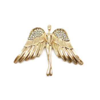 Gold Plated Crystal Angel Brooch Pin