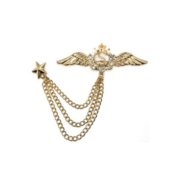 Star Chain with Angel Wing Brooch Lapel Pin