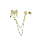 Chain Angel Wing Brooch Pin