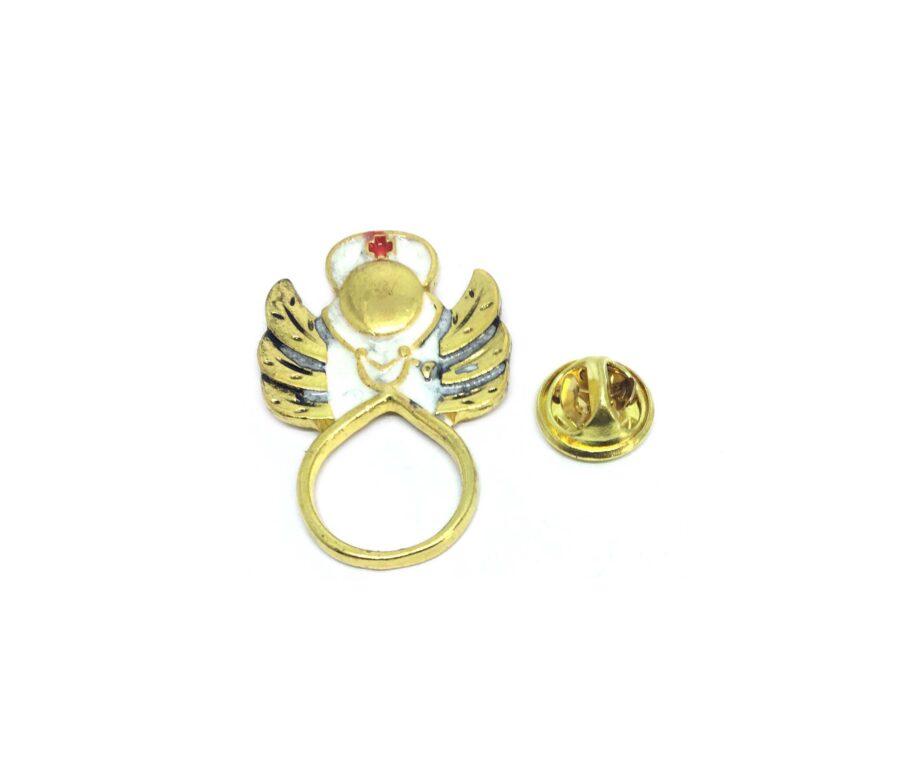 White Enamel Angel Lapel Pin