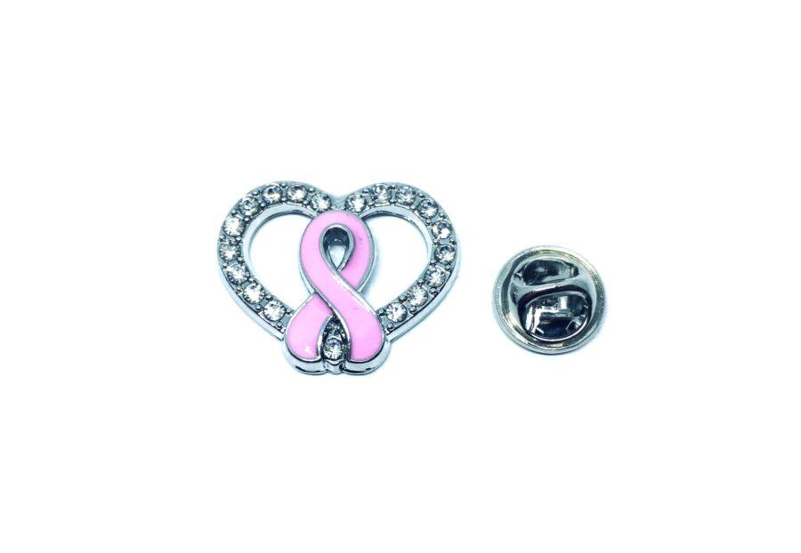 Crystal Pink Ribbon Awareness Lapel Pin