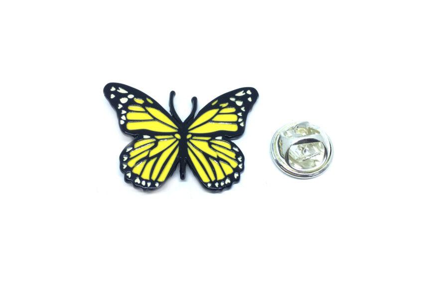Yellow Enamel Butterfly Lapel Pin