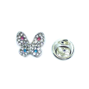 Silver plated Rhinestone Butterfly Lapel Pin