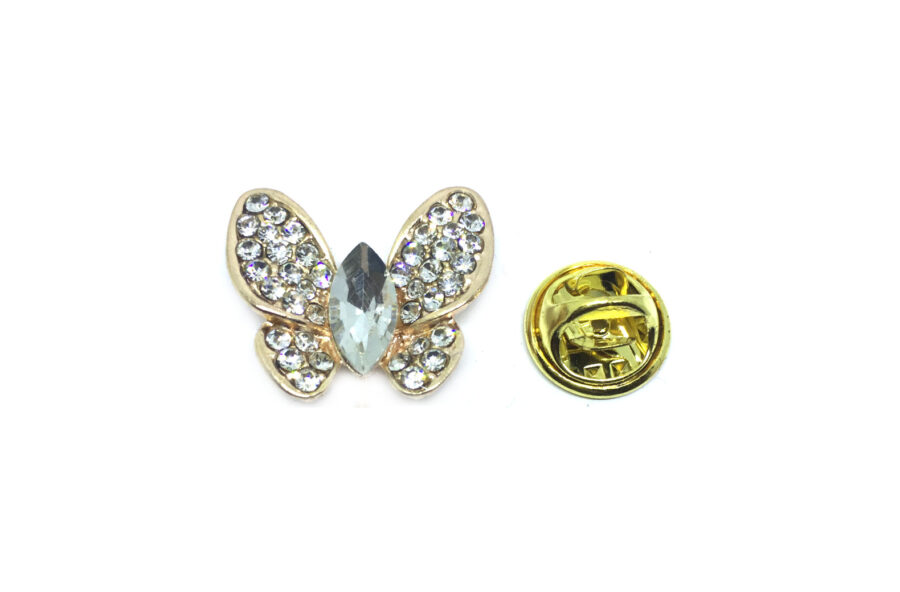 Gold plated Rhinestone Butterfly Lapel Pin