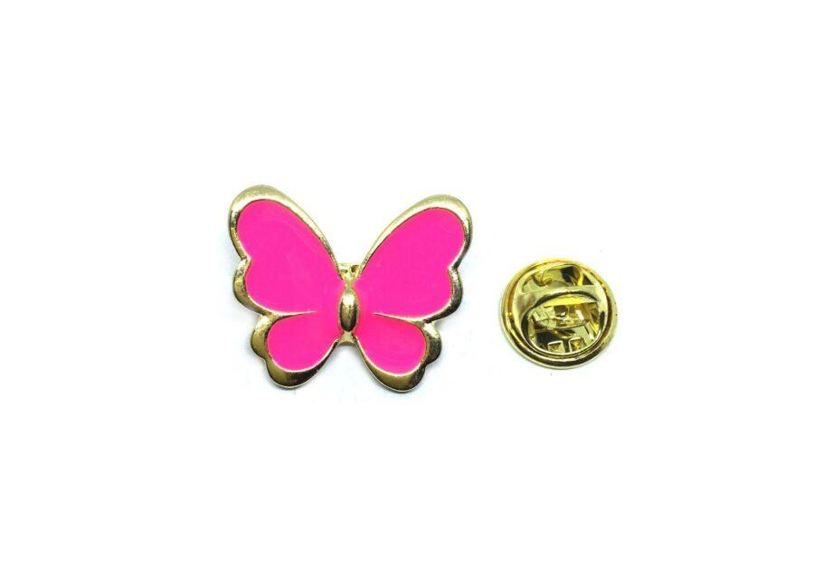 Pink Enamel Butterfly Lapel Pin