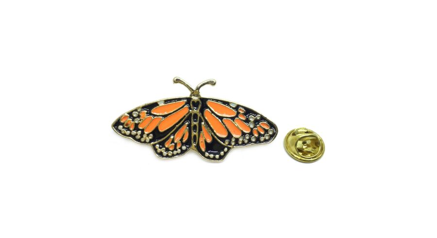 Black & Orange Enamel Butterfly Lapel Pin