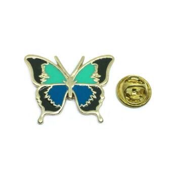Gold tone Enamel Butterfly Lapel Pin