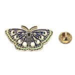 Black & Green Enamel Butterfly Lapel Pin