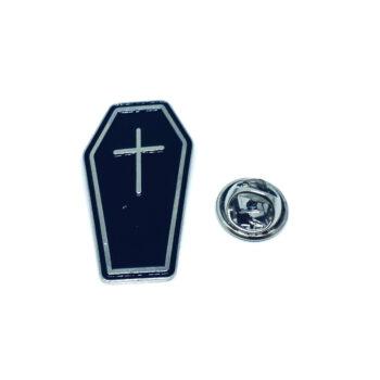 Silver tone Black Enamel Cross Pin