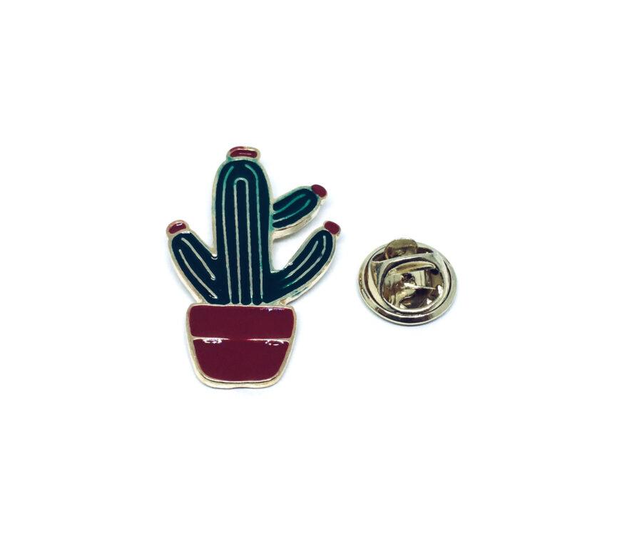 Gold tone Enamel Cactus Pin