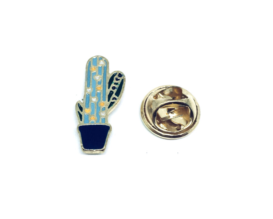 Gold plated Enamel Cactus Brooch Pin