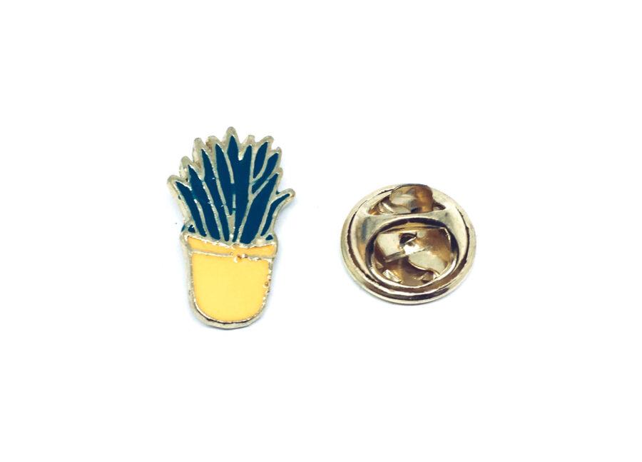 Gold tone Enamel Cactus Brooch Pin