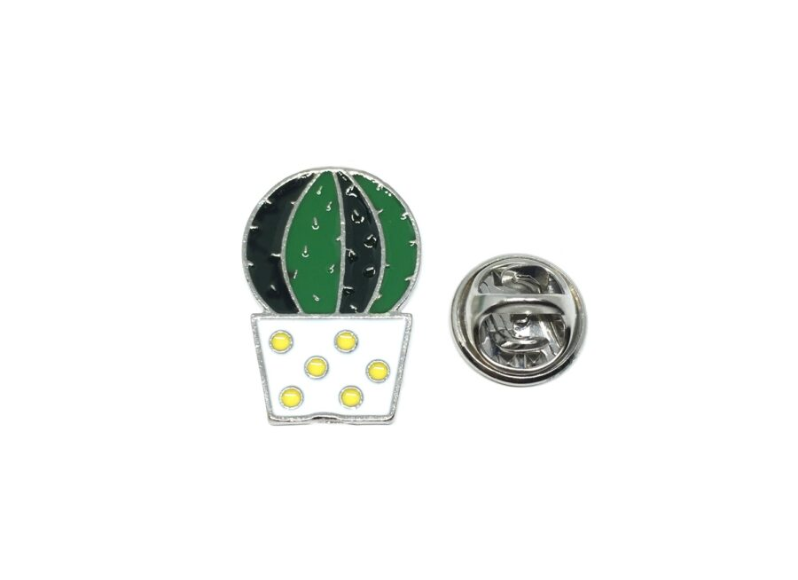 Silver plated Enamel Cactus Lapel Pin