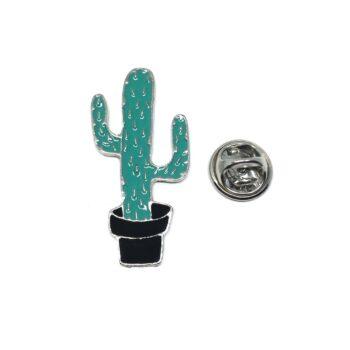 Silver tone Enamel Cactus Lapel Pin