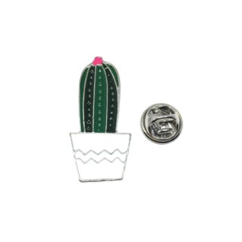 Silver plated Enamel Cactus Pin