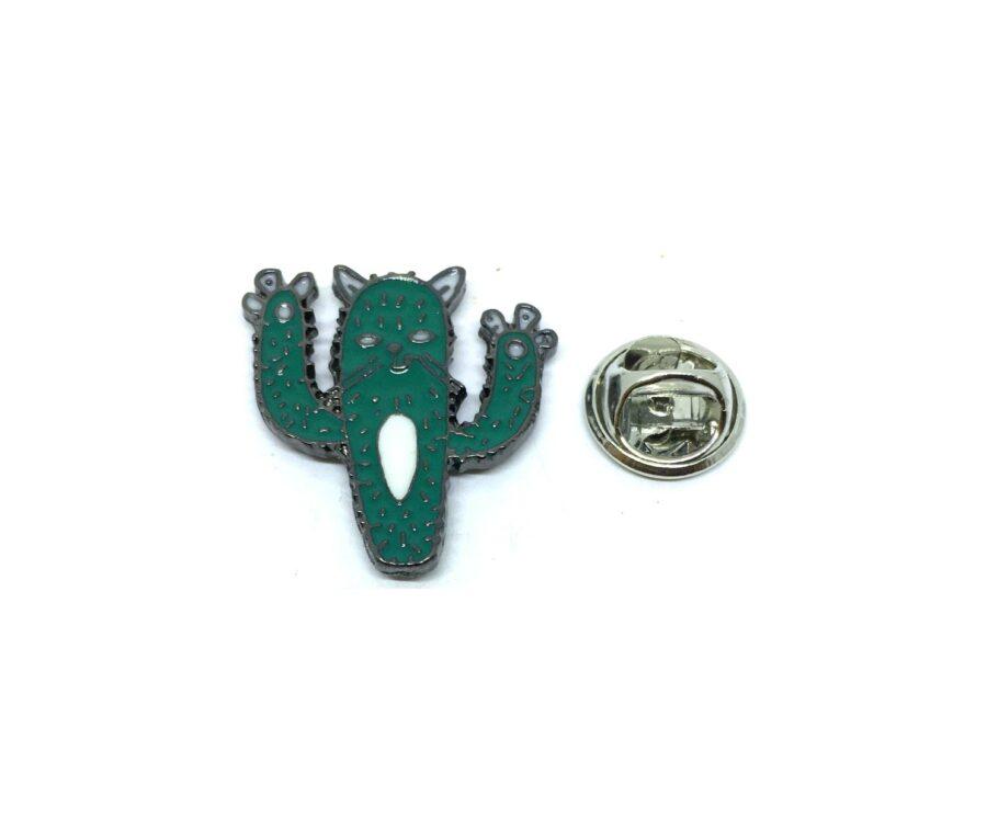 Green Enamel Cactus Lapel Pin