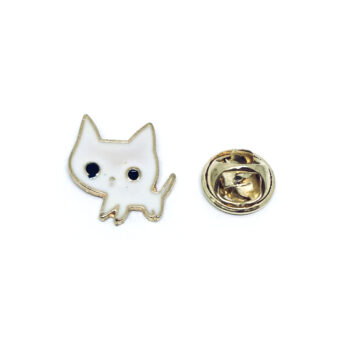 White Enamel Cat Pin