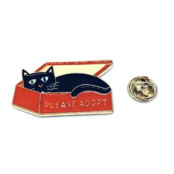 Gold plated Enamel Cat Lapel Pin