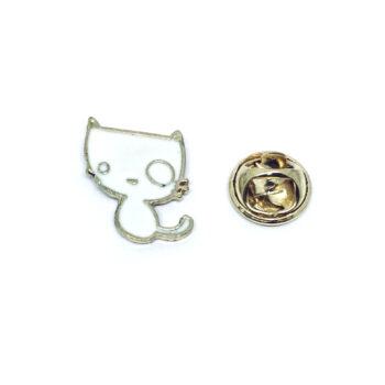Gold tone Enamel Cat Lapel Pin