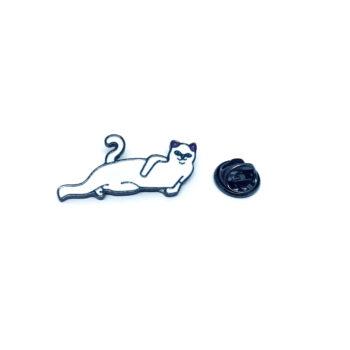 Silver plated Enamel Cat Pin