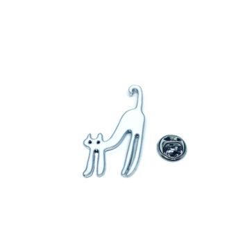 Silver tone Enamel Cat Brooch Pin