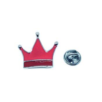 Red Enamel Crown Lapel Pin