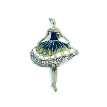 Crystal Enamel Dance Brooch Pin