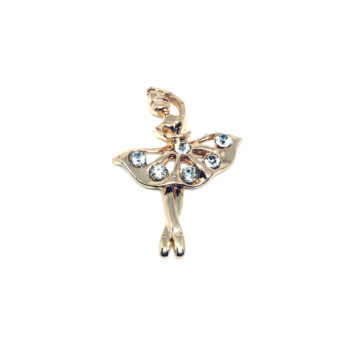 Gold plated Crystal Dance Lapel Pin