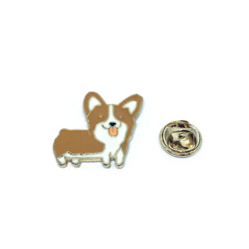 Brown Enamel Dog Lapel Pin