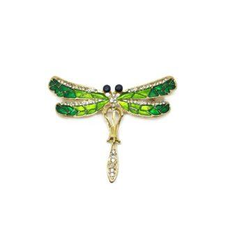 Green Enamel Dragonfly Brooch Pin