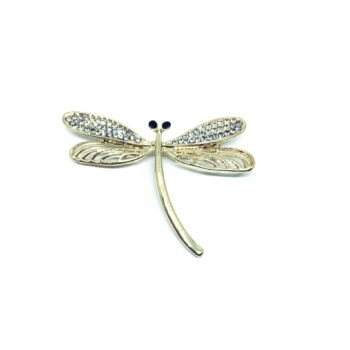 Crystal Gold plated Dragonfly Brooch Pin