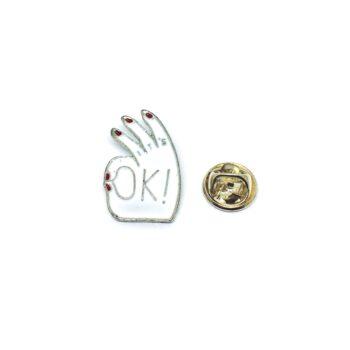 OK Sign Enamel Pin