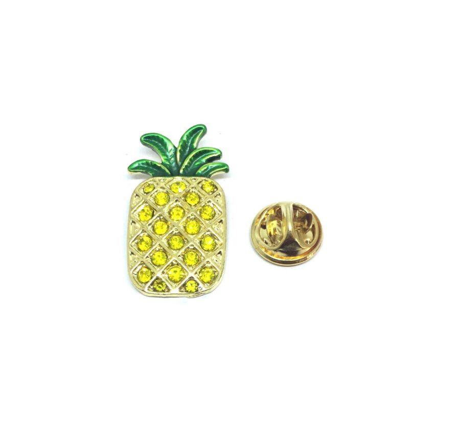 Crystal Pineapple Enamel Lapel Pin