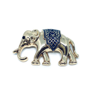 Gold plated Enamel Elephant Brooch Pin