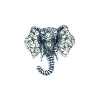 Rhinestone Elephant Brooch Pin