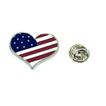 Heart American Flag Pin