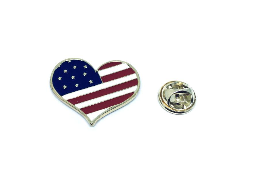 Heart American Flag Pin